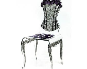 Acrylic Rose & Corset Side Chair