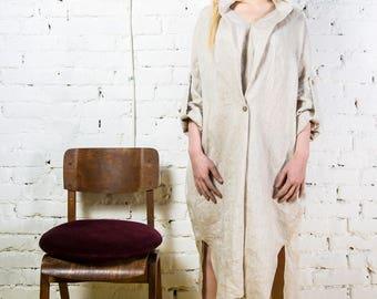 Long linen dress, Kimono dress, Linen dress sleeves, Maxi linen dress, Long sleeved dress, Linen tunic/LD0003