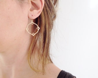 Modern Gold Hoop Earring | Boho Earrings | Geometric Brushed Gold Earring | Simple Dainty Earring | Moroccan Dangle Earring
