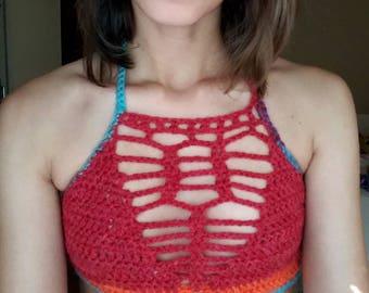 Crochet crop top, summer top, halter top, festival top, handmade