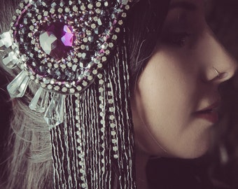 Purple Drop-Tribal Fusion Headpiece with Crystals, Black Beaded Fringe, Tribal Buttons and a Shiny Star