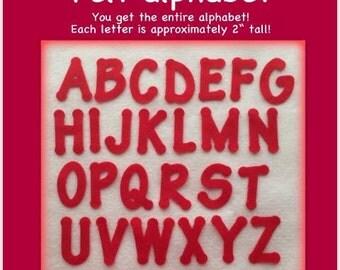Red felt alphabet, A-Z entire alphabet 26 letters precut die cut upper case scrapbooking cardmaking craft set banner letter 2 inch card