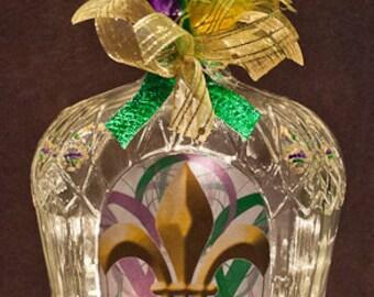 Mardi Gras Fleur de lis Bottle Light