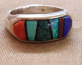 """Sterling Silver Edison Yazzie Ring Artist Signed Gemstones Inlay US Size 7-1/4"""""""