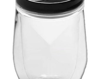 Customizable Acrylic Wine Tumbler with Lid -- 15oz
