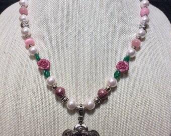 Pewter lace flower pendant necklace