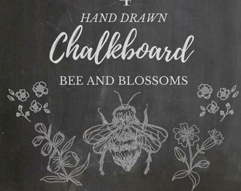 Hand Drawn Chalkboard Bee & Blossoms Clipart- 4 line drawings, flowers, plants, botanical, rustic, romantic
