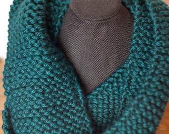 Double Wrap Hand Knit Teal Infinity Scarf