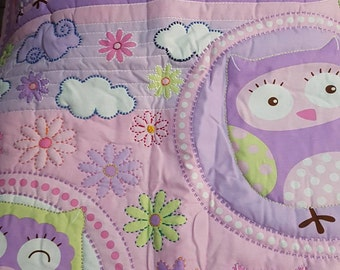 Pink Purple Owl Cot or Toddler Bed Quilt Hand-quilted