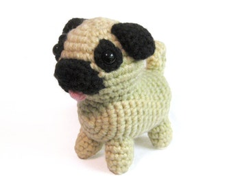 Crochet Amigurumi Cute Chubby Pug Stuffed Animal Plush Toy Handmade