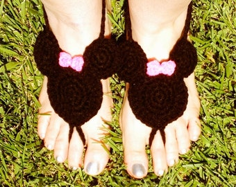 Minnie mouse barefoot sandals for children and adults beach barefoot sandals knitted for children and adults Disney barefoot yoga sandals