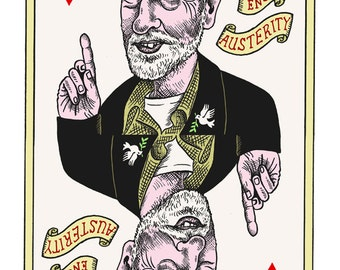 King of Hearts: Signed Giclee print of a dip pen & ink, digitally coloured artwork.