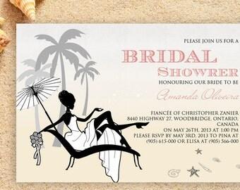 Bridal Shower Seashell Invitation Beach Invitation Beach Wedding Wedding Invitation Destination Wedding  Seashell Invitations