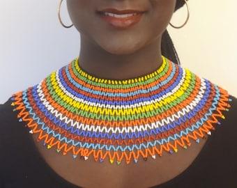 Large Multicolor Zulu Beaded Necklace