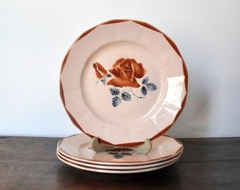 4 Digoin-Sarreguemines floral plates, flat vintage plates, antique ceramic, rose pattern
