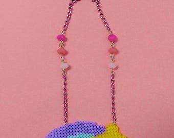 Kawaii Fairy Kei Pixel Rainbow Shooting Star Necklace