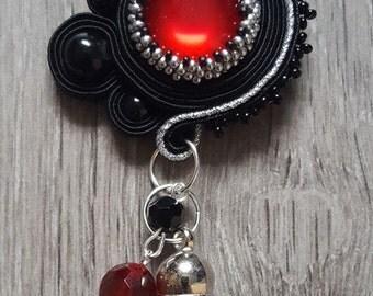 Soutache black/red pendant