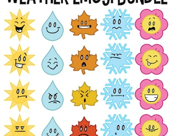 Clip Art Bundle, Seasons Clip Art, Fall Winter Spring Summer, School Learning, Four Seasons, School Clip Art, Teacher Download, Emoji Art
