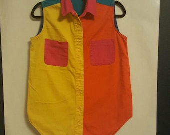 Vintage Woman's Gitano Sleeveless Button Down Color-Block Shirt Size Large