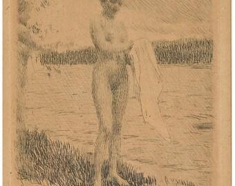 Important & Original **Anders Zorn** Swedish Painting 1860s - 1920s Monogram '' Dal River ''