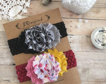 Baby headbands, fabric flowers, scrunchy headbands, black, plaid, pastel pink, pastel green, polka dots, red