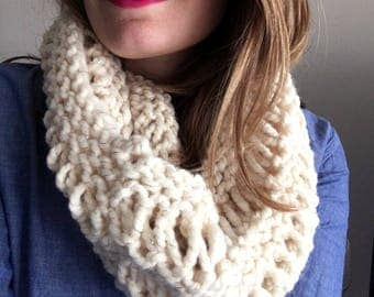 White and Metallic Gold Chunky Knit Cowl