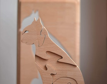 Wooden puzzle cat - Wooden toys - Wooden ram puzzle - Animal puzzles - Montessori toys - Educational toy - Stacking cat puzzle - Waldorf toy