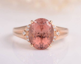 Oval Cut Pink Tourmaline Ring Rose Gold Engagement Ring Cluster Multistone Birthstone Leaf Flower Art Deco Vine Anniversary Promise Wedding
