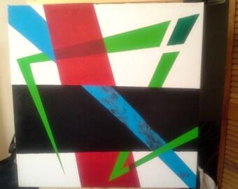 """Original acrylic painting on 20'' x 20'' canvas """"Vert, rouge, noir et bleu"""" - Samuel Boudreau Original Art for 2016 collection"""