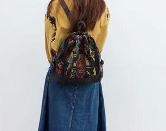 Black jacquard,women backpack purse,Travel women bag,hipster bag, vegan bag,for girlfriend,diaper bag backpack,birthday gifts for her
