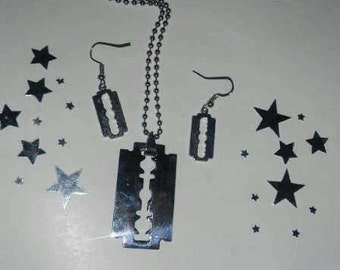 Silver Razor Blade Necklace and Earrings Punk Gothic Jewelry