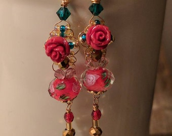 Romantic rose earrings with item 10