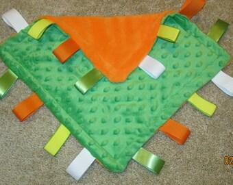"Tag blanket, baby, 12"" x 12"", Green, orange, Minky, Irish, travel, soft, durable, washable, ribbon"