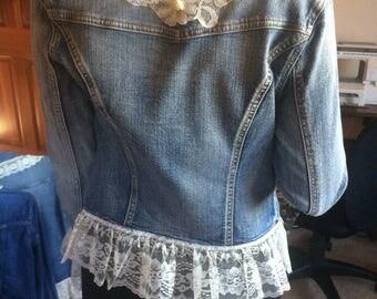 Embellished denim jacket/small