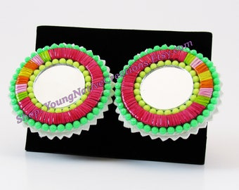 Neon and Red Quilled Earrings with Mirrors