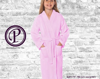 Pink Waffle Kimono Flower Girl Robes, Monogrammed Robes, Embroidered Robes, Wedding Day Robes, Bridal Party Robes, Gift, Kids Robe, Spa Robe