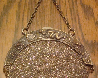 SALE Antique Beaded Purse from the 1800's (Cherubs)