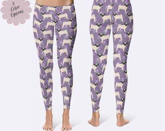 Pug Leggings, Dog Leggings, Pug Clothing, Ladies Leggings, Capri Leggings, Pug Print Leggings, Yoga Pants, Womens Leggings
