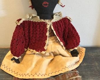 Antique style Black rag doll