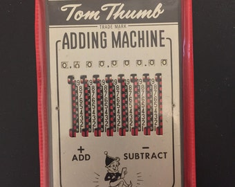 Vintage Tom Thumb Adding Machine w/Case, Instructions, Stylus - Works - Old School Calculator