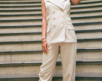Vintage Tan 2pc Suit - Sleeveless Double Breasted Jacket & High Waisted Slim Leg Pants