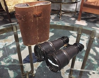 WWI-era antique binoculars and leather case