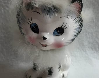 Lipper and Mann Black and Cream Cat with Fur Figurine (#038)