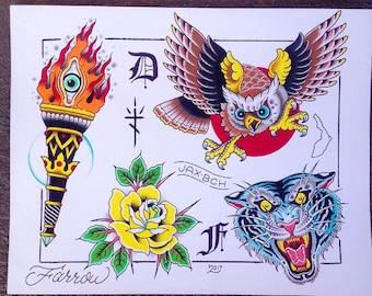 Tattoo flash sheet
