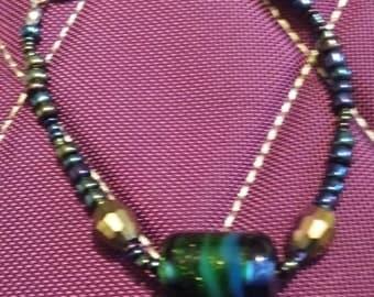Beaded Bracelet, Handmade Glass Focal bead