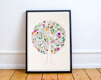 Fruit Tree Illustration Print