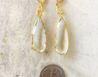 Faceted AAA Rock Crystal Quartz Lever Back Statement Earrings Bezel Set in 24K Gold Vermeil