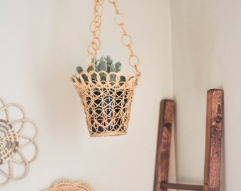 Items Similar To Vintage Wicker Rattan Hanging Lamp Shade
