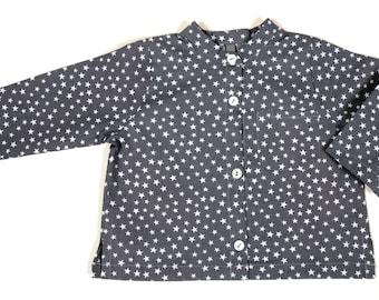 BAMBOO cotton shirt grey white stars