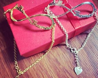 Infinity name bracelet - personalized name bracelet - sterling silver cutomized name bracelet